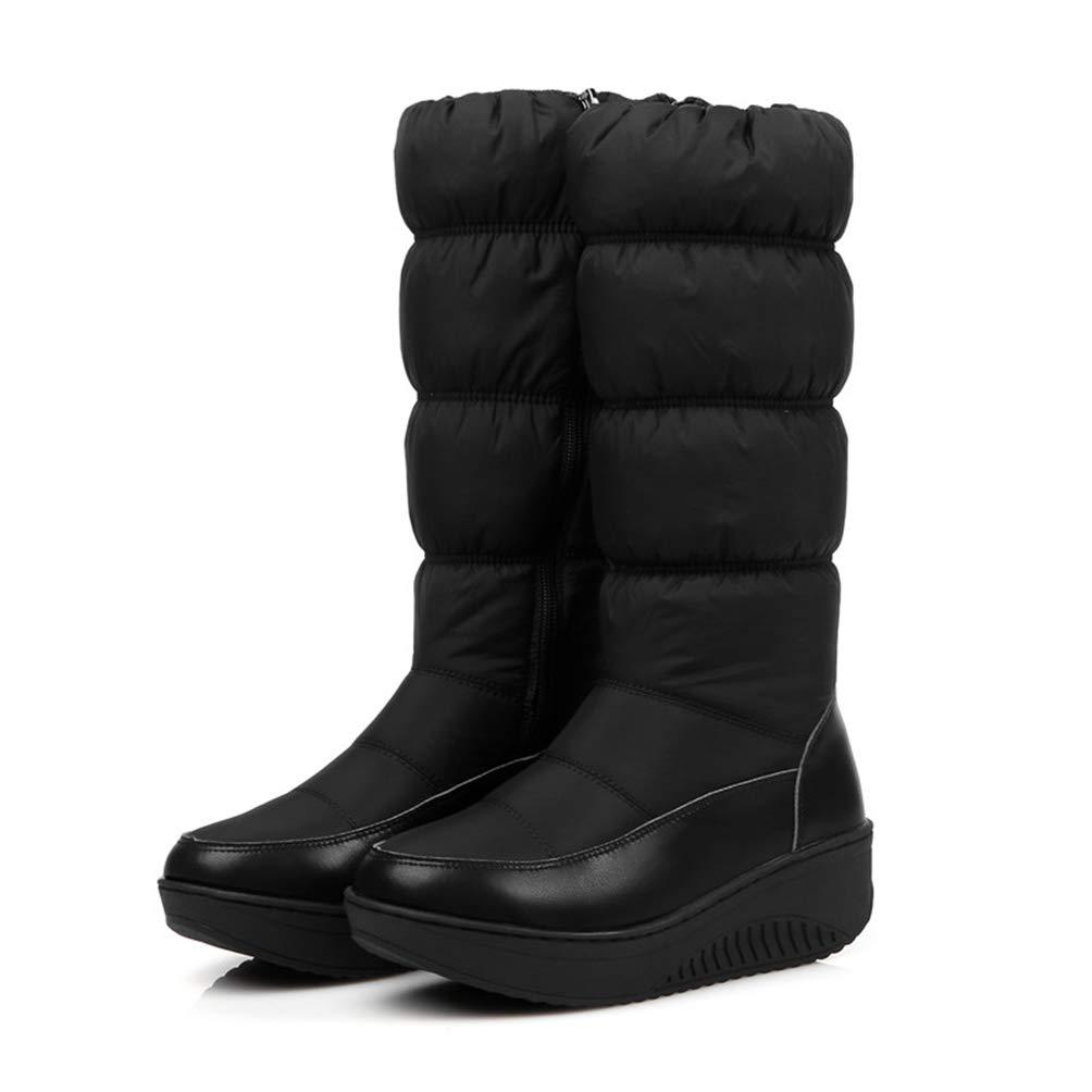 036264e3b63db Amazon.com: DETAWIN Women Winter Mid Calf Boots Zipper Waterproof ...