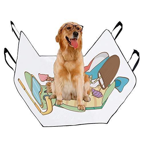 (VNASKL Dog Seat Cover Custom Cute Animal Enjoying Summer Vacations Printing Car Seat Covers for Dogs 100% Waterproof Nonslip Durable Soft Pet Car Seat Dog Car Hammock for Cars Trucks SUV)