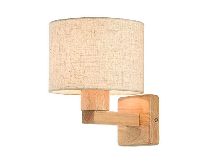 Home mall lampada da parete paralume in stoffa di legno per