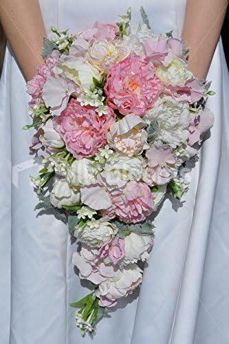Bouquet Sposa Peonie E Ortensie.Colore Avorio Rosa Stephanotis Peonia Ed Ortensia Cascade
