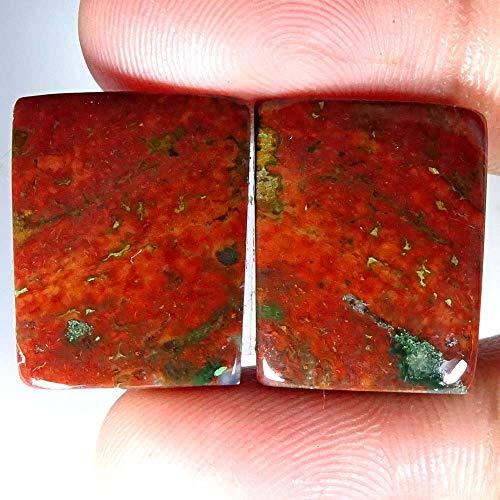 GEMSCREATIONS 41.25Cts 100% Natural Amazing Blood Stone Cushion Pair Cab Loose Gemstone