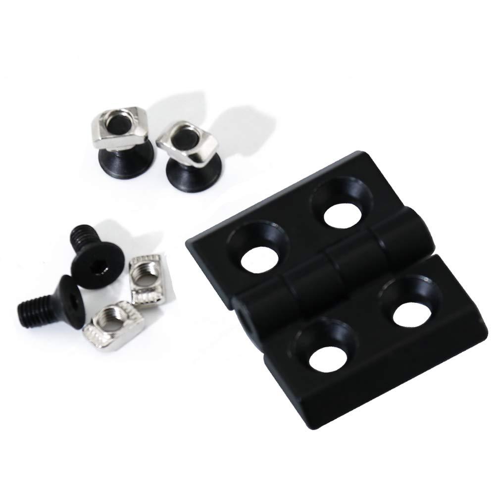 Boeray 4 Pack 2020 Aluminum Extrusion Profile Slot 6mm Door Frame Hinges Install Kit-4pcs Zinc Alloy Hinges,16pcs M5 T-Nuts, 16pcs M5 Hex Screws