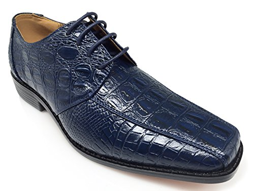 Enzo Romeo Gator3n Mens Alligator Stampa Coccodrillo Oxford Moda Lace Up Dress Shoes Navy