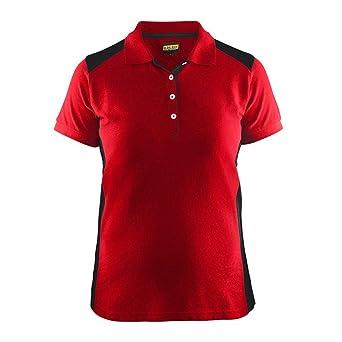 Polo para mujer, color rojo y negro, talla XL: Amazon.es ...