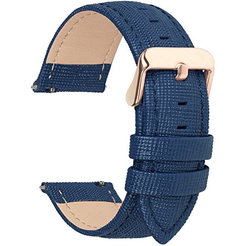 Fullmosa 6 Colors for Quick Release Leather Watch Band, Cross Genuine Leather Replacement Watch Strap with Stainless Metal Clasp 20mm Dark Blue