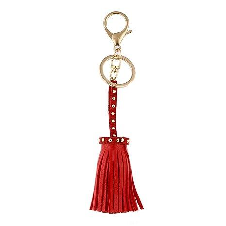 Amazon.com : Qinlee Women Leather Tassels Keychain Car ...