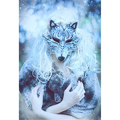 (Kuwoolf Square Full Diamond Drill Resin Mosaic Needlework Wall Paintings 3D DIY Diamond Embroidery Beauty And Wolf Mask)