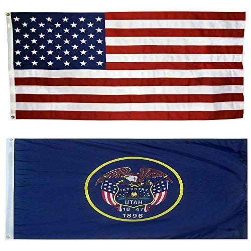 US Flag with Utah State Flag 3 x 5 - 100% American Made - (Nylon Utah State Flag)