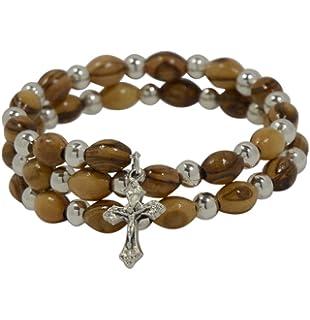 ad56c8212f78f AUTHENTIQUE Perles en bois d olivier sur cordon élastique Bracelet avec  perles en argent -