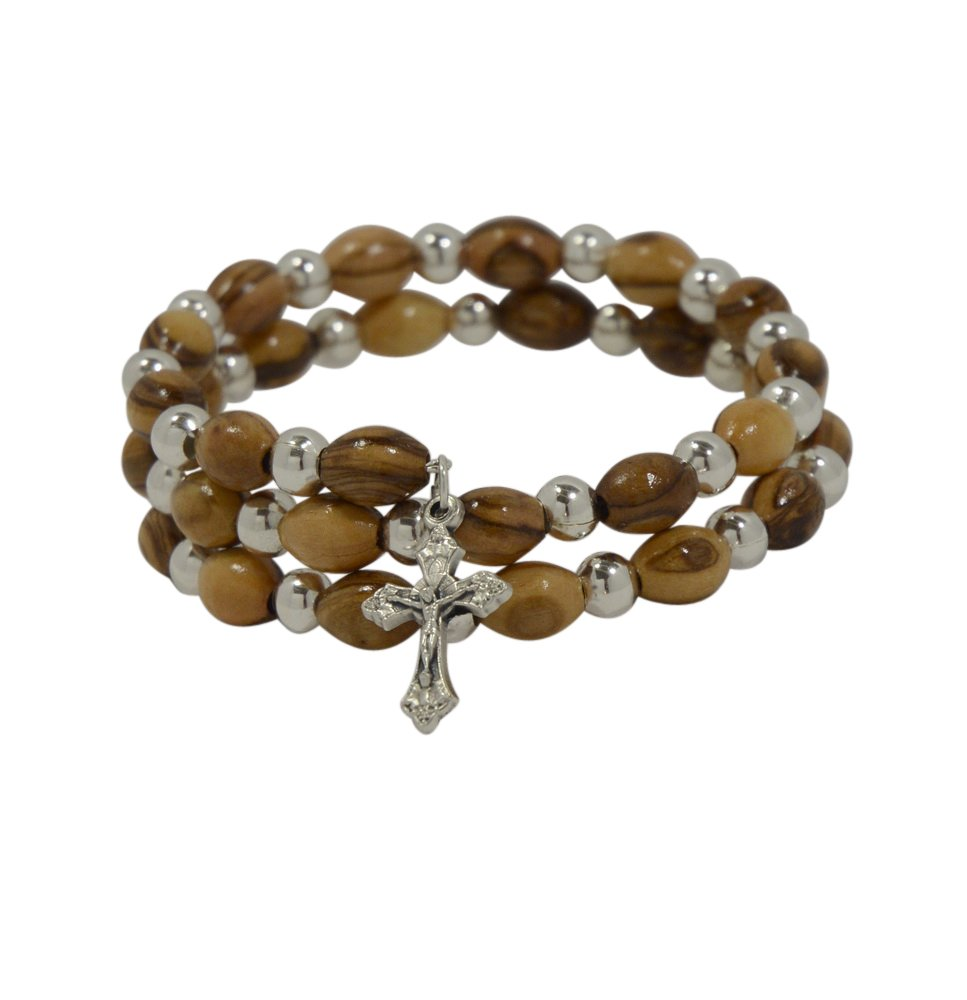 Most Original Gifts Rosary Cross Wood Bracelet for Men and Women with Real Olive Wood Beads - Christian Jewelry Gift in Natural Cotton Pouch