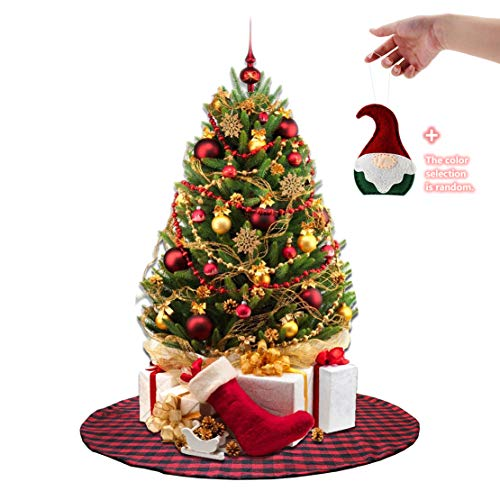 EDLDECCO 36 inch Plaid Christmas Tree Skirt Red and Black Buffalo Check Tree Skirt with a Santa Claus Hanging Ornaments a Fine Decorative Handicraft for Holiday Party ()