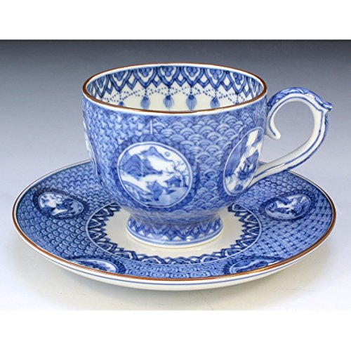Kiyomizu-kyo yaki ware. Coffee teacup and saucer marumonsansui with paper box. Porcelain. kymz-CSM525