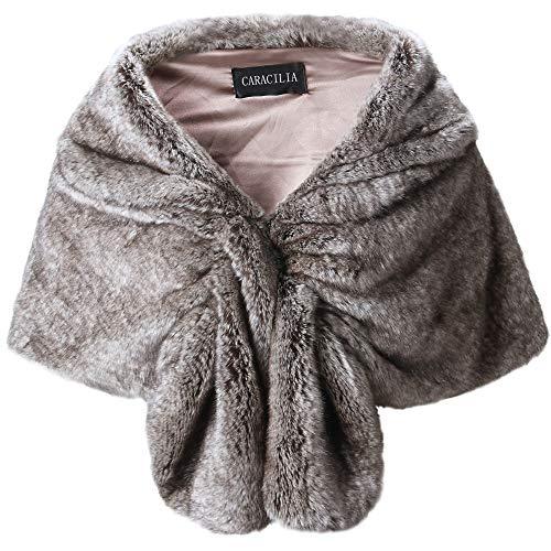 Caracilia Elegant Bridal Wedding Faux Fur Shawl Stole Wrap Shrug CA95 , Rabbit Fur Grey , Large by Caracilia (Image #7)