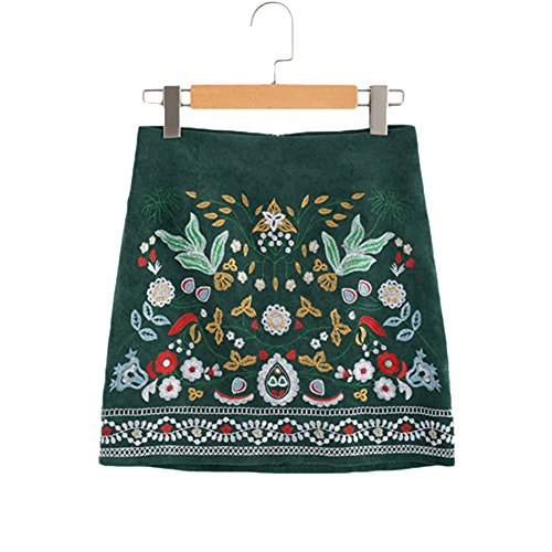 YoungG-3D Women Autumn Botanical Embroidered Cord Skirt Boho Skirts A Line Skirts Above Knee Skirt Green M ()