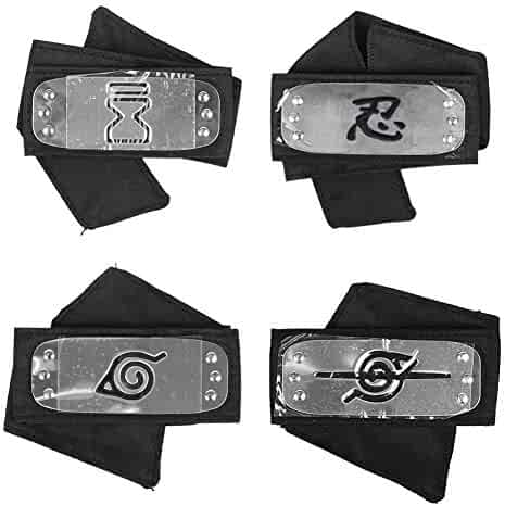 Master Online Naruto Headband with Metal Plated Cosplay Accessories Japanese Leaf Village Headband (Black,Pack of 4)