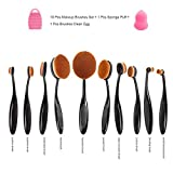 Aibay 10 Pcs Soft Oval Toothbrush Design Makeup Brush Sets Foundation Brushes BB Cream Contour Powder Blush Concealer Brush Makeup Cosmetics Tool Set