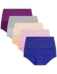 YaShaer Womens High Waist Cotton Briefs Underwear Tummy Control Panties(5 Pack)