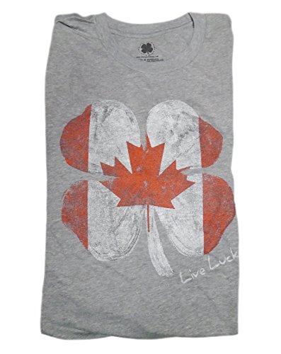 新しいブラッククローバーカナダグレー/レッドLucky FlagメンズXL Tシャツ( XL )