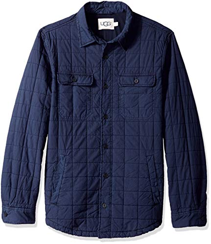 (UGG Men's M Trent Quilted Shirt Jacket, navy XL)