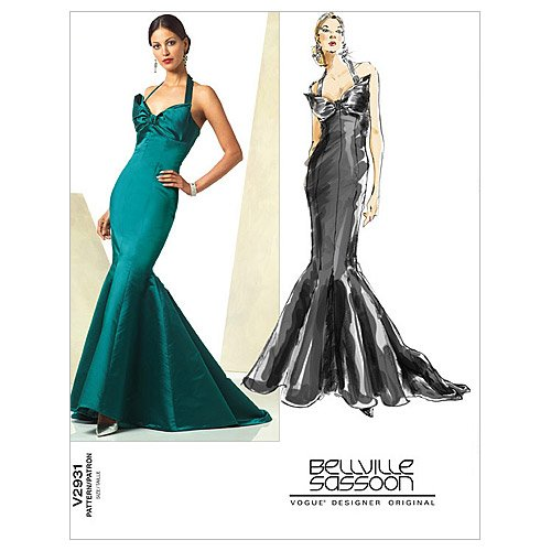 Train Pattern (Vogue Patterns V2931 Misses' Mermaid Halter Dress with Train by Belville Sassoon, Size FW (18-20-22))