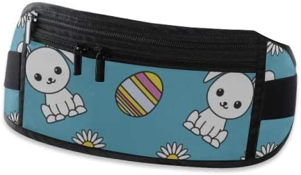 Travel Waist Pack,travel Pocket With Adjustable Belt Pattern Dedicated Easter Image Rabbits Running Lumbar Pack For Travel Outdoor Sports Walking