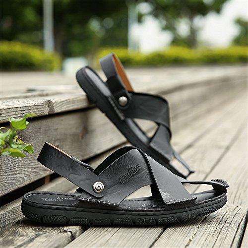 Respaldo Ocasionales de Cerrada Hombres Negro Playa de Zapatos sin Cuero Sandalias Punta Zapatillas los Planas de Suaves de Ajustables Antideslizantes Genuino los q8XSwRxw