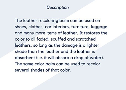 Amazon.com: Leather Re-Coloring Balm – Renew and Restore Color to ...