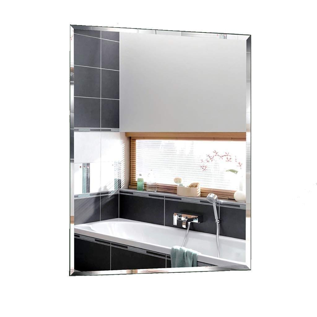 Beauty mirror Bathroom Mirror,Rectangle Wall-Mounted Makeup Mirror Dressing Mirror Simplicity Decorative Mirror Frameless Suitable For Bedroom Restrooms Dressing mirror (Color : B, Size : 5070) by Makeup Mirrors