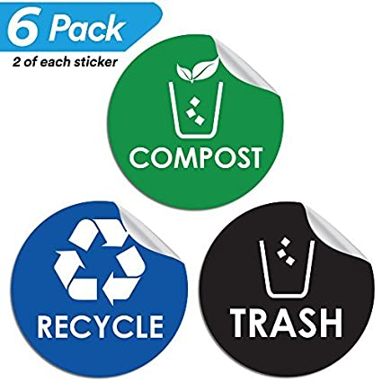 Amazon Recycle Trash Compost Bin Sticker 4 X 4 Organize