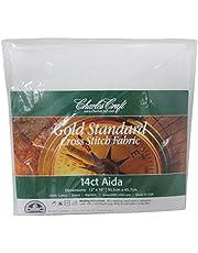 "Charles Craft Gold Standard Aida 14 Count 12""X18"", White"