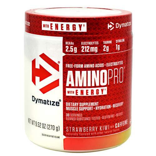 Dymatize AminoPro + Energy Endurance Amplifier Powder, Reinforced with Caffeine, Electrolytes & Amino Acids, Strawberry Kiwi, 9.52 Ounce