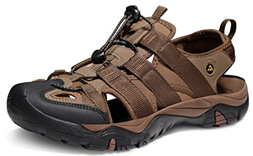 ATIKA Men's Sports Sandals Trail Outdoor Water Shoes 3Layer Toecap, All Terrain Orbital(m107) - Brown, 10