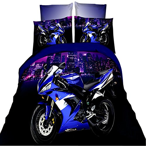 EsyDream Fashion 3D Oil Motorcycle Print Boys Duvet Cover 4P