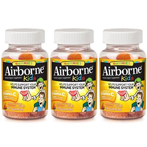 Airborne Kids Gummies Vitamin C Immune Support Supplement, Assorted Fruit Flavors, 42 ct ( Pack of 3)