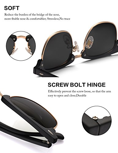LUENX Men Women Clubmaster Polarized Sunglasses:UV 400 Protection 51MM with Case (23 Black(Matte Frame)/Non-Mirror, 51) by LUENX (Image #2)
