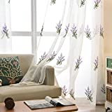 WPKIRA Kids Room Fresh Polyester Linen Lavender Embroidered Rod Pocket Window Curtain Sheer Panels Voile Drapes Sunlight Filtered Transparent Window Treatments Screen Shade , 1 Panel W39 x L84 inch