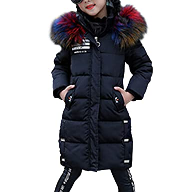 69caccb3a OCHENTA Girls Jacket with Faux Fur Collar Hooded Puffer Winter Coat ...
