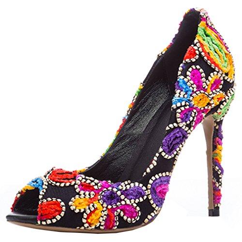 Enmayer Dames Multicolor Sexy Stiletto Hoge Hakken Gluren Teen Slip Op Platform Partij Trouwjurk Schoenen Multicolor