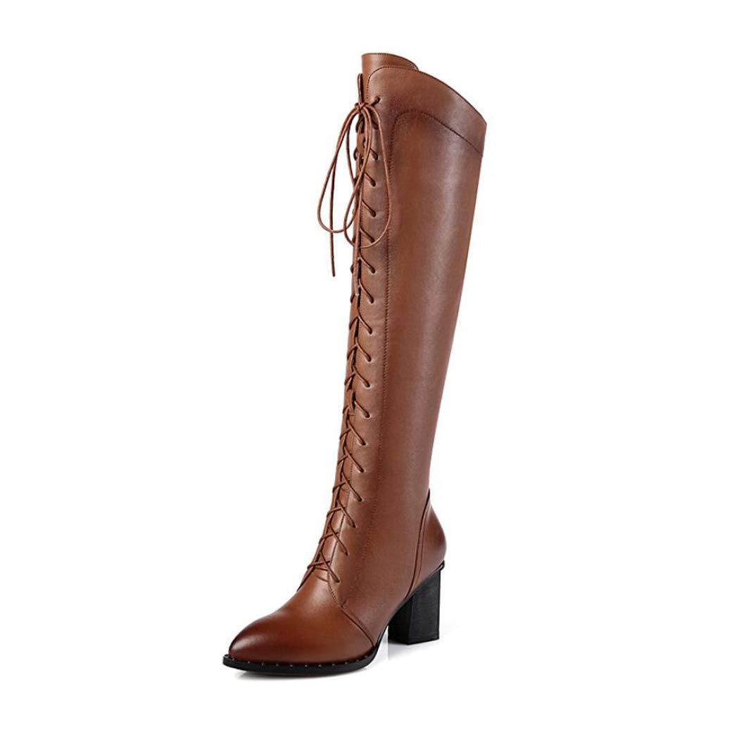 Zxcer Herbst und Winter Damen Lederstiefel Lederstiefel High Heels dick mit hohen Stiefeln über den Kniestiefeln  | Stil