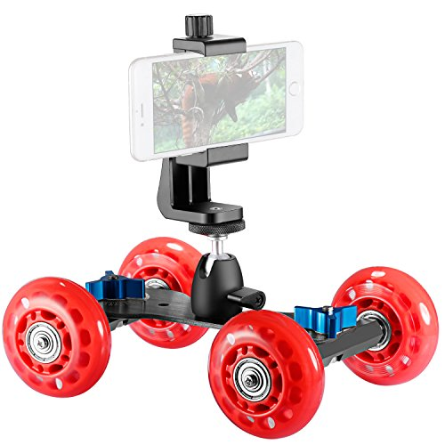 UPC 191073033245, Neewer Tabletop Mobile Rolling Slider Dolly Car Skater Video Track Rail Stabilizer(Red) with Smartphone Holder and Ball Head for DSLR Cameras Camcorder, iPhone,Samsung and Others within 3.9-inch Width
