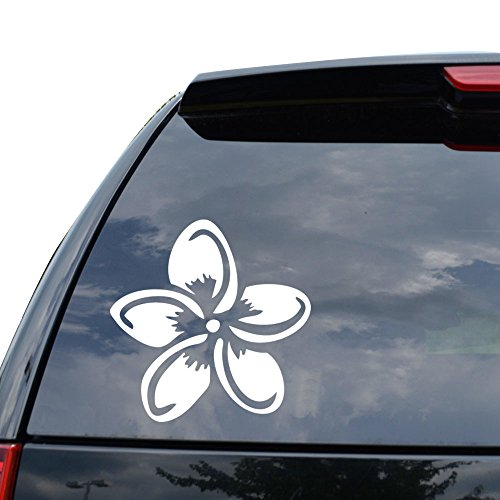 Plumeria Flower Hawaii Decal Sticker Car Truck Motorcycle Window Ipad Laptop Wall Decor - Size (05 inch / 13 cm Wide) - Color (Gloss WHITE)