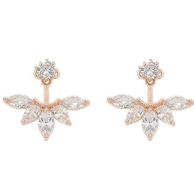 fc160d148cc Amazon.com: 1 Pair 18K Rose Gold Plated Clear Crystal Leaf Stud ...