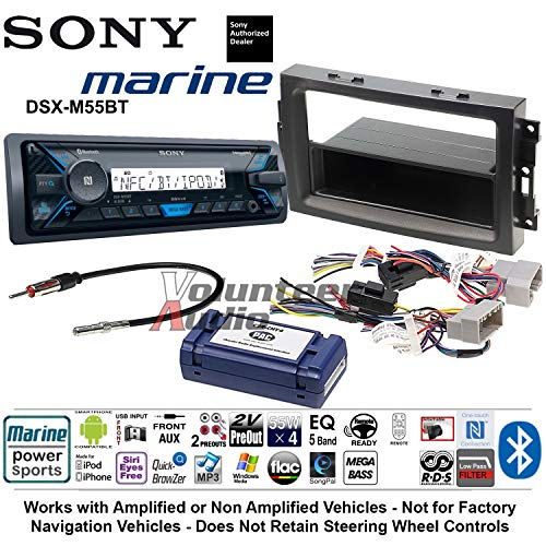 Volunteer Audio Sony DSX-M55BT Single Din Marine Radio Install Kit with Bluetooth Fits 2007-2008 Ram, 2006-2007 Chrysler 300 ()
