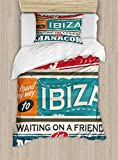 Lunarable Ibiza Twin Size Duvet Cover Set, Vacation Themed Majorca Ibiza and Manacor Exotic Places from Balear Region Spain, Decorative 2 Piece Bedding Set with 1 Pillow Sham, Multicolor