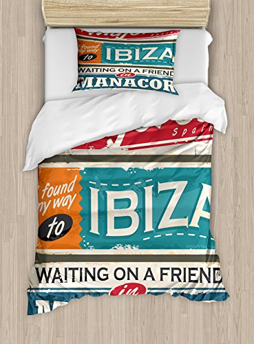 Lunarable Ibiza Twin Size Duvet Cover Set, Vacation Themed Majorca Ibiza and Manacor Exotic Places from Balear Region Spain, Decorative 2 Piece Bedding Set with 1 Pillow Sham, Multicolor by Lunarable