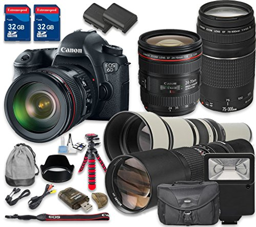 Canon-EOS-6D-202-MP-CMOS-Digital-SLR-Camera-with-Canon-EF-24-70mm-f4L-IS-USM-Lens-Canon-EF-75-300mm-f4-56-III-Lens-500mm-f8-Telephoto-Lens-650-1300mm-Lens-International-Model