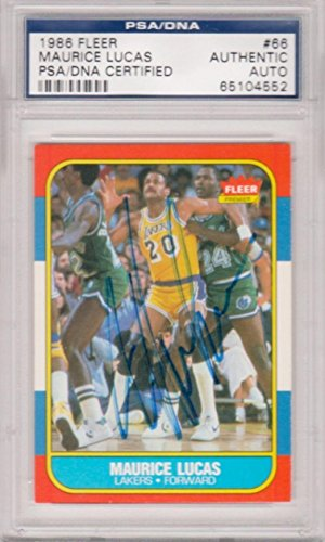 Lucas Autographed Basketball (Maurice Lucas Los Angeles Lakers 1986 Fleer #66 Signed AUTOGRAPH 552 - PSA/DNA Certified - Basketball Slabbed Autographed Cards)