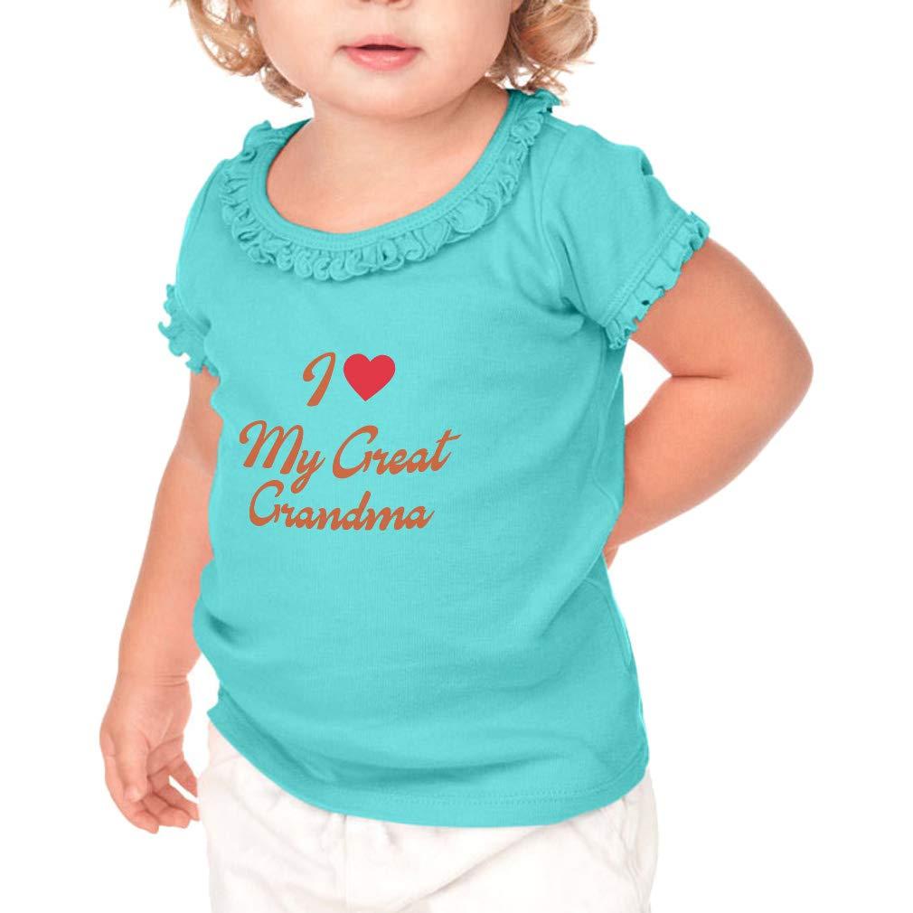Little Girl I Love My Grandma This Much Toddler//Kids Ruffle T-Shirt