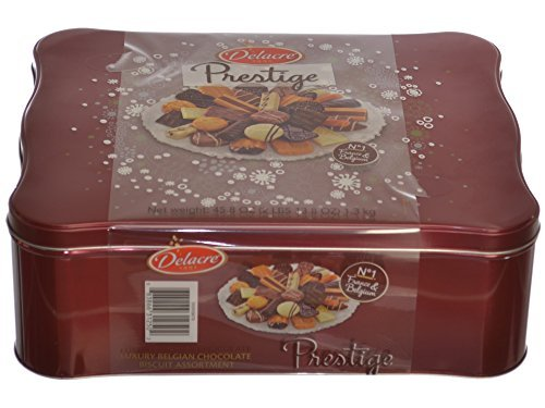 Delacre Belgian Chocolate Biscuit Prestige Luxury Assortment in a 45.8 Oz Tin Gift Box â€