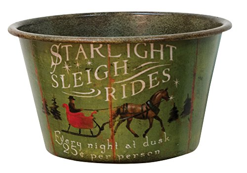 Small Starlight Sleigh Rides Vintage Tin Bowl